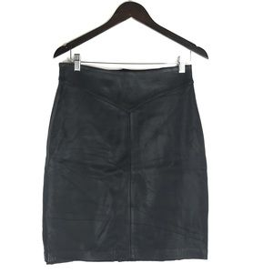 Vintage Genuine Leather Knee Length Skirt
